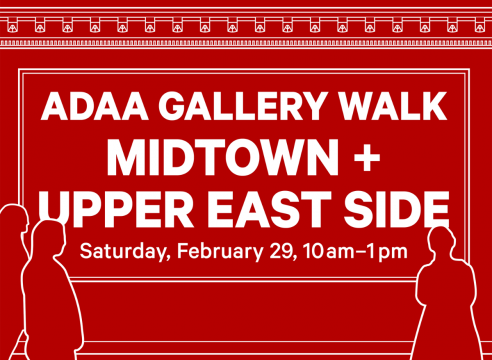 logo that says ADAA Gallery Walk , Midtown + Upper East Side: February 29 10-1PM