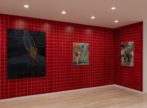 installation view of bird paintings
