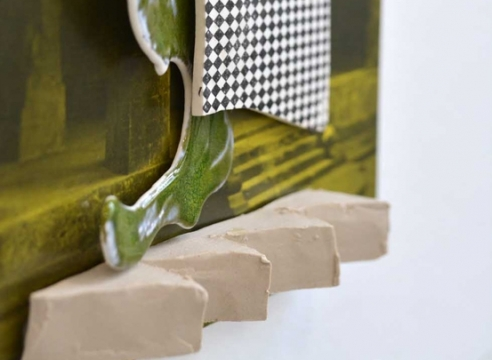 close-up of Marjolijn de Wit ceramic on print
