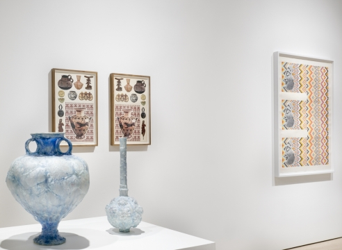 Installation of Matthew Craven collages