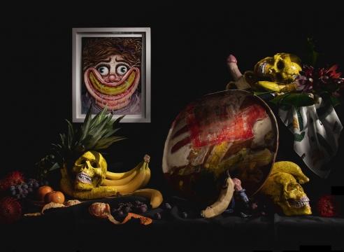 Installation photo with Rebecca Morgan, Banana Smile (2021). Keith Simpson, Banana Rocking Pots with Skulls (2021). Shino Takeda, baNaNa (2021). Marcel Alcalá, Happy Banana (2021). Colin Radcliffe, Uncut (2021). BFGF (Lilian Martinez), Banana Scarf.