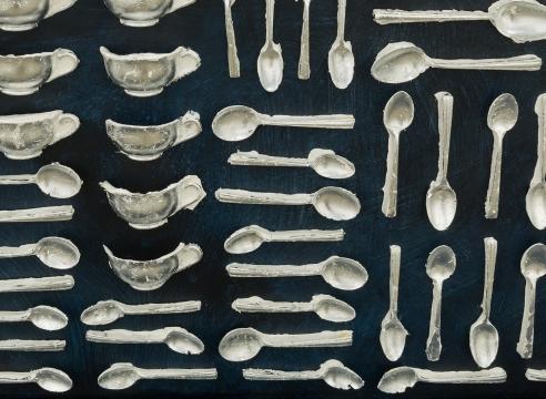 Cast spoon sculpture by Julie Schenkelberg