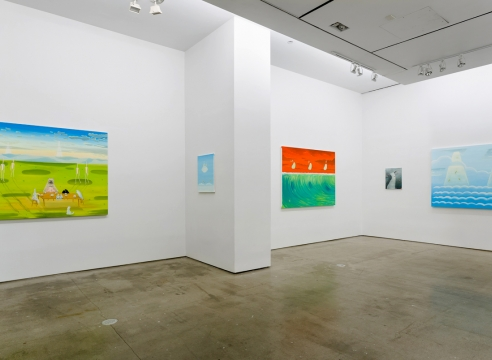 installation of Ryan Michael Ford paintings