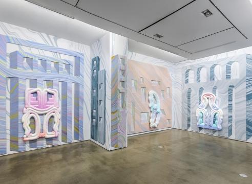 Lauren Clay wallpaper and sculpture installation