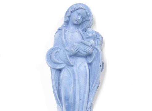 Cement Virgin Mary sculpture by Julie Schenkelberg