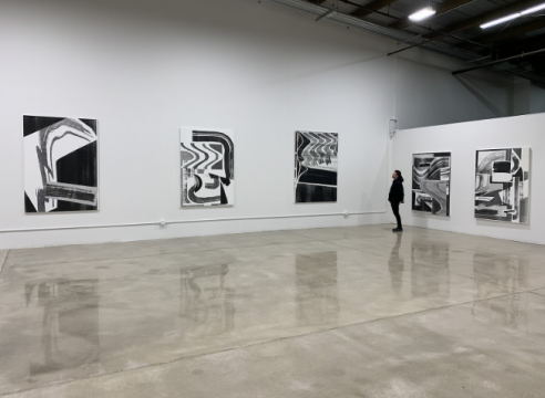 Installation of solo exhibition of paintings by Shane Walsh