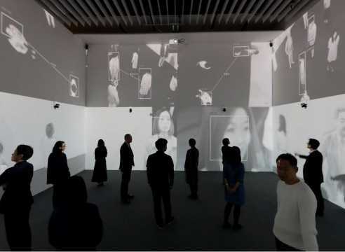Rafael Lozano-Hemmer in collaboration with Krzysztof Wodiczko  Zoom Pavilion  2015  Interactive video installation  Dimensions variable  Courtesy: bitforms gallery, New York  Installation view: Future and the Arts: AI, Robotic, Cities, Life - How Humanity Will Live Tomorrow, Mori Art Museum, Tokyo, 2019-2020  Photo: Kioku Keizo
