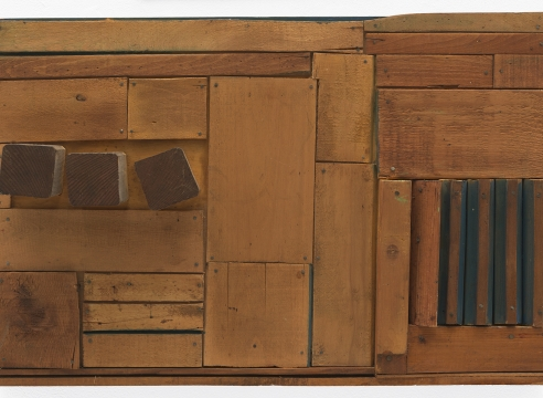 "Mildred Thompson, ""Wood Picture"" (c. 1967), wood, paint, nails, 16.25 x 24.75 x 4.25 inches (all images courtesy the Estate of Mildred Thompson and Galerie Lelong & Co., New York, unless otherwise stated)"