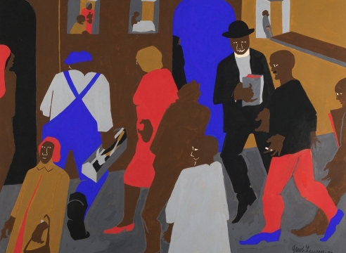 Jacob Lawrence, Windows, 1977,  Gouache on paper,  19 1/4 x 23 inches,  Signed and dated lower right. Flat color figures in brown, red, blue and burnt orange. Jacob Lawrence was one of the most important artists of the 20th century, widely renowned for his modernist depictions of everyday life as well as epic narratives of African American history and historical figures.