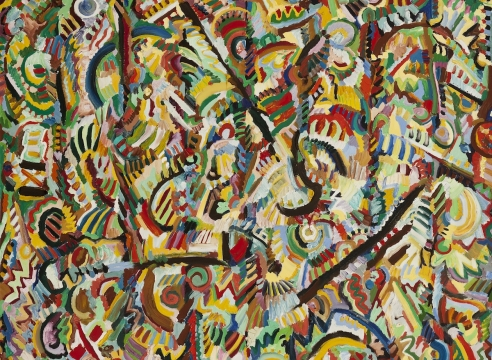 Ed Gilliam, Untitled, 1983, Oil on canvas, 49 x 56 inches, Signed & dated on verso, Vibrant and colorful work with a variety of shapes and patterns, Ed Gilliam creates work that is abstract, strong and energetic.