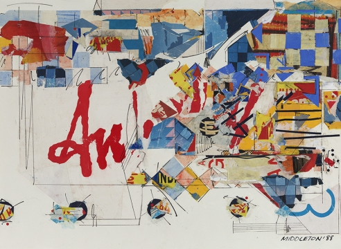 Sam Middleton, Count, 1986 Mixed media collage, 20 3/8 x 30 1/4 inches, Signed and dated lower right. Abstract work with primary colors, geometric spheres, triangles and lines and cut out photographs. Sam Middleton was one of the leading 20th-century American artists, and is a mixed-media collage artist