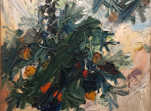 "Manoucher Yektai, Tomato Plant, 1959, Oil on canvas, 42"" x 48"",   signed and dated lower right SOLD. Abstract piece with vibrant paint strokes in hunter green, navy blue and cream. Manoucher Yektai is an Iranian Artist who studied in Iran, France and New York. He is part of the New York Abstract Expressionists and paints instinctively, which is why he has also claimed to be an Action Painter."