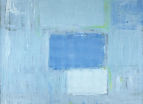 Katherine Parker, Kick The Can, 2017, Oil on canvas, 84 x 60 inches, Abstract red painting with multiple layers of blue and white, Katherine Parker is known for her large vividly painted canvases which are characterized by layers of stumbled and abraded oil paint.