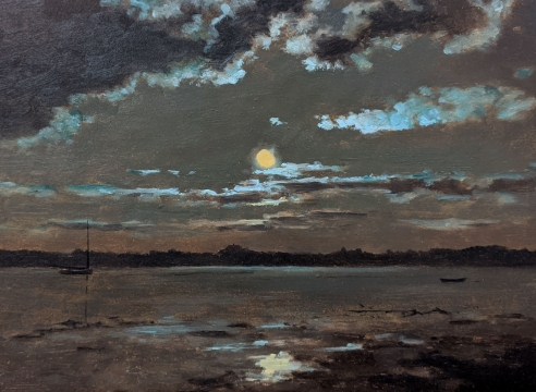 LOCKWOOD DE FOREST (1850-1932), Full Moon Over Trees - Two Boats