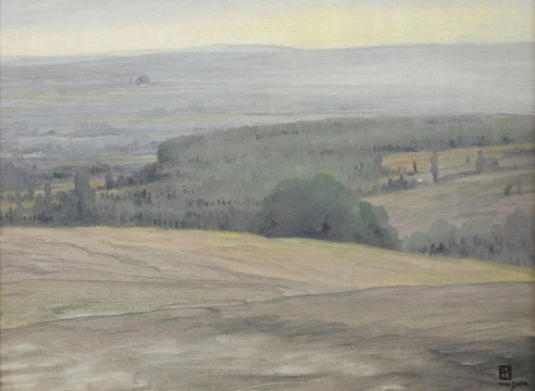 LEON DABO (1864-1960)   Inventory ID 155090  Early Evening Hudson Valley, c 1900 15.25 x 19.5 inches  |  Oil on canvas Signed lower right  Exhibited The Life & Art of Leon Dabo, 2012;   D. Wigmore Fine Art, Inc., NY, NY, 1999.  Published Leon Dabo, A Retrospective
