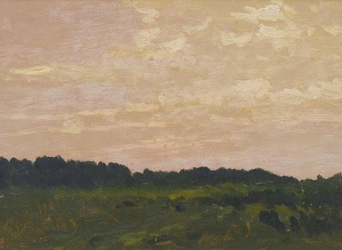LOCKWOOD DE FOREST (1850-1932), Santa Barbara: Pale Pink Sky over Treeline, April 14, 1901 for IN QUIETUDE: The Paintings of Lockwood de Forest