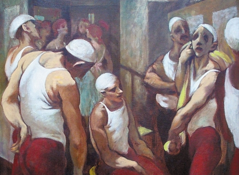 HARRY CARMEAN, Six Acrobats with Ballerinas in Blue in Background, 1988