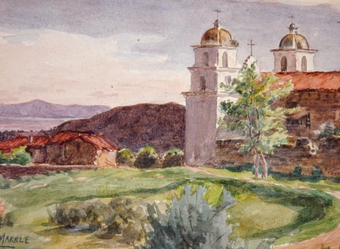 JOHN NELSON MARBLE (1855-1918), Mission Santa Barbara, View Towards Channel, c. 1881