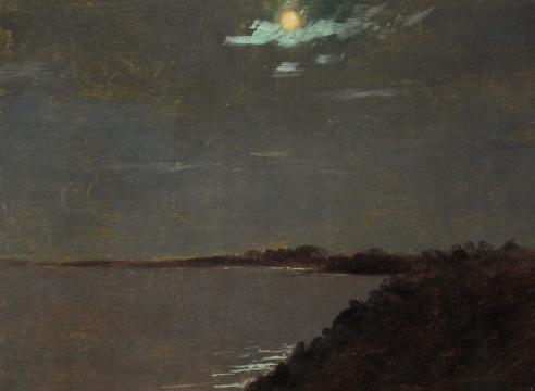 LOCKWOOD DE FOREST (1850-1932), Full Moonlight Over Shore, York Harbor, Maine, August 19, 1907