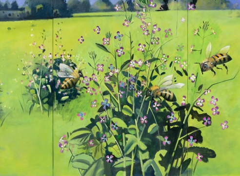 HANK PITCHER: Primal exhibition image (Bees and Wild Radishes, 2018)