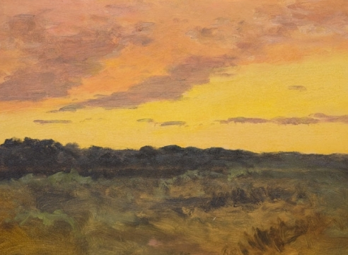 LOCKWOOD DE FOREST (1850-1932), Mauve, Orange & Yellow Sunset over Santa Barbara, ND.