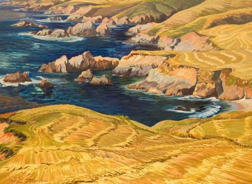 RAY STRONG (1905-2006), Farm Near Rocky Coast, c. 1955