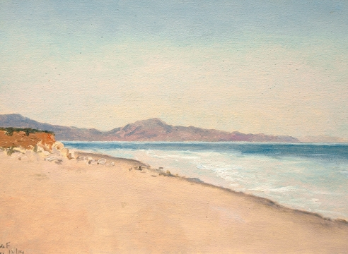 LOCKWOOD DE FOREST (1850-1932), Rincon Peak from Sandyland Beach South of Santa Barbara, Dec. 12, 1914