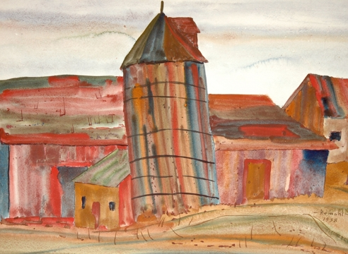 FREDERICK REMAHL (1901-1968), Barn and Silo, 1938