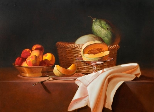 MARTHA MAYER ERLEBACHER (1937-2013), Still Life with Cut Cantaloupe, 1990