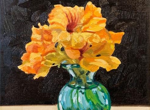 JOHN NAVA , Flowers in Green Vase, 2020