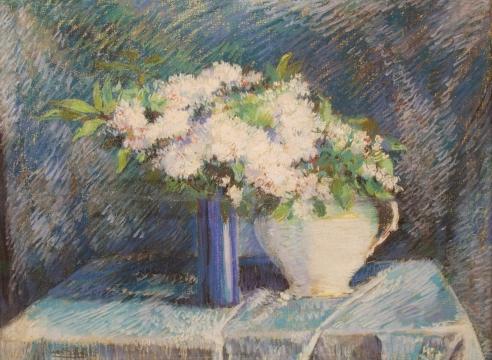 Leon Dabo White flowers in Blue Vase