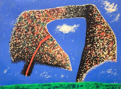 MICHAEL DVORTCSAK, Floating Abstract Shape on Blue Background, c. 1985
