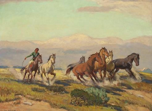 CARL OSCAR BORG (1879-1947), Navajo Herding Wild Horses, 1945