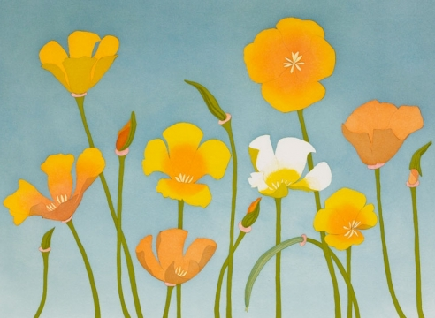 BETH VAN HOESEN (1926-2010), California Poppies, 1992-95