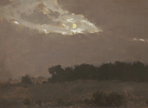LOCKWOOD DE FOREST (1850-1932), Moonlight in Clouds Over Treeline