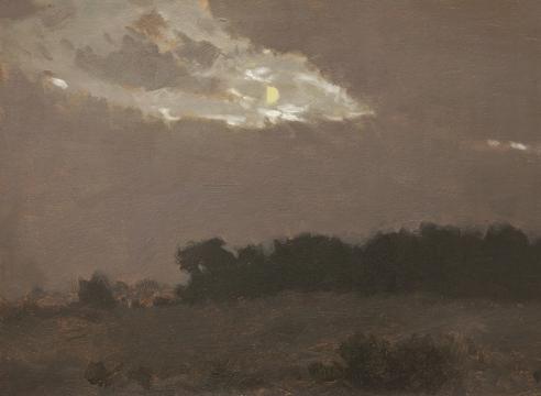LOCKWOOD DE FOREST (1850-1932), Moonlight in Clouds Over Treeline