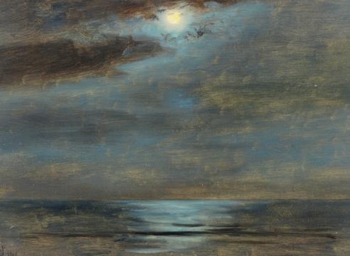 LOCKWOOD DE FOREST (1850-1932), Moon Above Still Sea, York Harbor, Maine, September 2, 1906