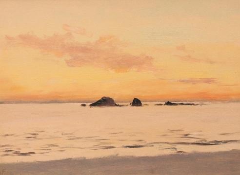 LOCKWOOD DE FOREST (1850-1932), Winter Sunset Afterglow, Stillwater Cove (Monterey) , Dec. 9, 1917