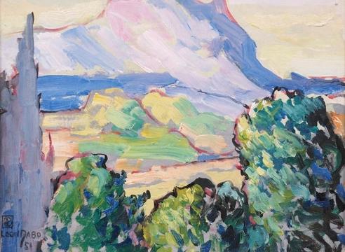 LEON DABO (1864-1960) , Aix en Provence, Etude (Treeline view of Mount St. Victoire), 1951