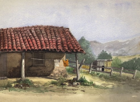HENRIETTA MARSHALL LATHAM DWIGHT (1840-1909), Adobe with Clothesline, 1891