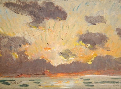 COLIN CAMPBELL COOPER (1856-1937), Sunset with Green Rays over Ocean, 1929