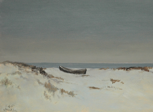 LOCKWOOD DE FOREST (1850-1932), Moonlight Over Dunes, Dory Pulled Ashore, Jan. 3, 1912