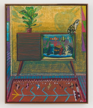 colorful painting of interior with tv