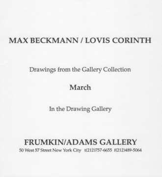 Max Beckmann & Lovis Corinth 1992 exhibition announcement