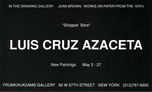 Luis Cruz Azaceta May 1995 Exhibition Announcement
