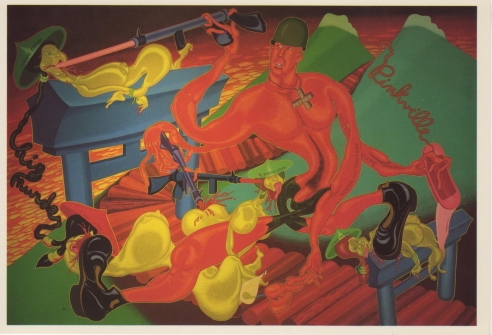 Exhibition announcement picturing Peter Saul, Pinkville 1970
