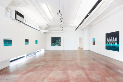 An installation image of Ayse Wilson's solo exhibition of paintings