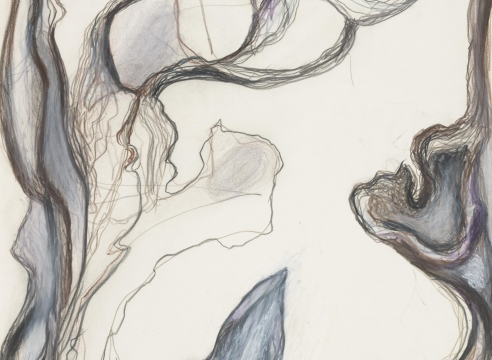 detail of an abstract work on paper