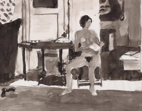 Ink drawings of a nude seated woman reading a book in her hands.