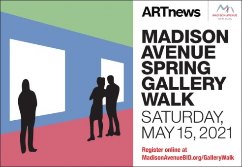 event poster with text announcing the Saturday May 15 Gallery walk on the Upper East Side